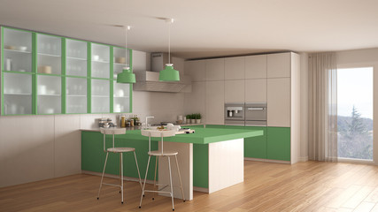 Classic minimal white and green kitchen with parquet floor, modern interior design