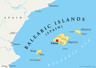 Balearic Islands political map with capital Palma. Archipelago of Spain in Mediterranean Sea near Iberian Peninsula coast. Majorca, Minorca, Ibiza, Formentera. lllustration. English labeling. Vector