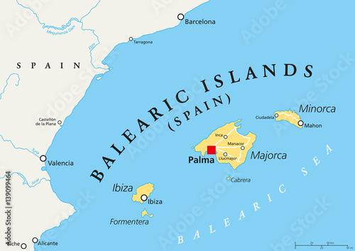 Balearic Islands political map with capital Palma. Archipelago of ...