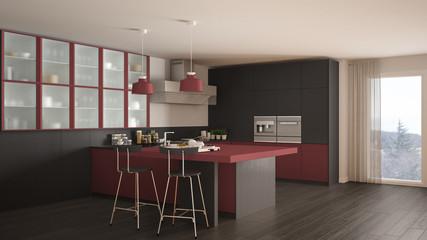 Classic minimal gray and red kitchen with parquet floor, modern interior design