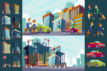 Set vector cartoon illustration of an urban large modern buildings, cars and urban residents.