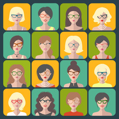 Big vector set of different women app icons in glasses in flat style.