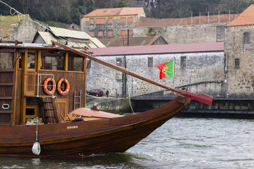 View on the famous boats rabelo on the river douro