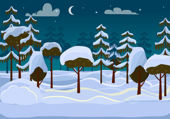 Forest. Evening. Different Trees Covered with Snow