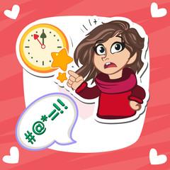 Angry girl pointing at wall clock.