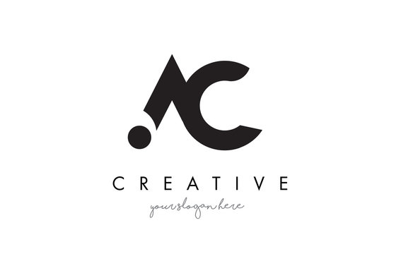 AC Letter Logo Design with Creative Modern Trendy Typography.
