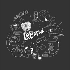 Be creative in study. Doodle hand drawn elements. Logo for study concept.