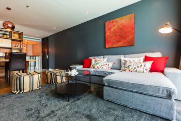 Living room interior design with red pillows and picture on gray wall
