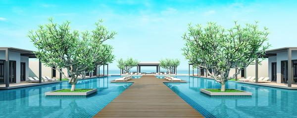 3d rendering Beach Villa Lobby and Living area sea view
