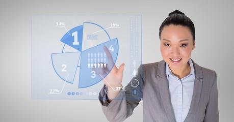 Business woman touching digitally generated pie chart