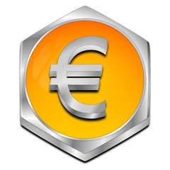 Button with Euro sign - 3D illustration