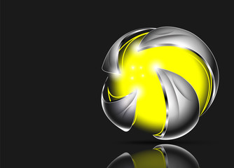 Abstract 3d logo design. Hi tech, web site badge, company emblem...