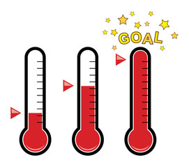 vector clipart set of goal thermometers