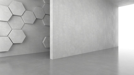 Blank concrete wall with hexagons pattern background with bright light from entrance. 3D rendering.