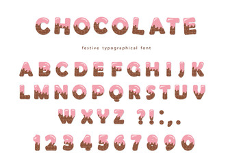 Chocolate font. Cute letters and numbers can be used for birthday card, baby shower, Valentines day, sweets shop, girls magazine. Isolated.