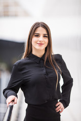 Modern business woman in the office background