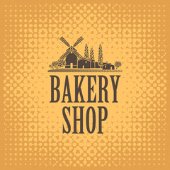 Vector banner for a bakery shop with a picture of the village and windmill on the background of textile