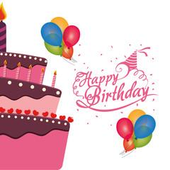 happy birthday cake balloons confetti celebration vector illustration eps 10