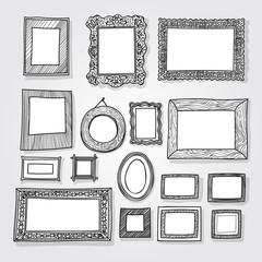 Hand drawn photoframes. Doodle vector illustration
