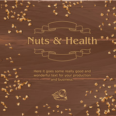 Vector brown background with wooden texture and ground nuts