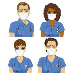 Medical nurse staff team with stethoscopes wearing surgical masks
