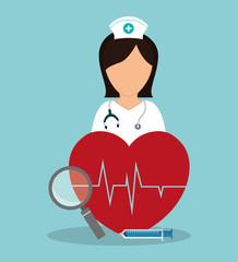 nurse medical heartbeat loupe syringe vector illustration eps 10