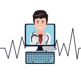 doctor monitoring heart pulse vector illustration eps 10
