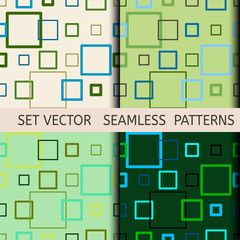 set of seamless green geometric patterns of the contour of the squares