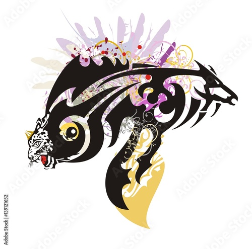a6130fb83 Tribal fantastic symbol in the form of fish formed by the leopard head and  the horse head with colorful floral splashes and feathers
