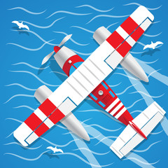 Amphibian seaplane. View from above. Vector illustration.