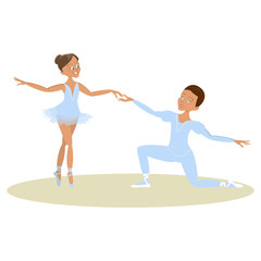Cute little boy and girl ballet dancers collection. Character of male and female dancing pair. Isolated Vector illustration eps 10