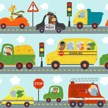 seamless pattern transports with animals in city  - vector illustration, eps