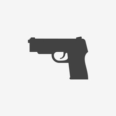 Gun monochrome icon. Vector illustration.
