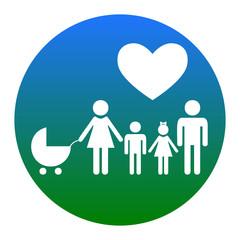 Family sign with heart. Husband and wife are kept children's hands. Vector. White icon in bluish circle on white background. Isolated.