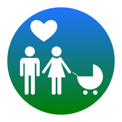 Family symbol with pram and heart. Husband and wife are kept each other`s hands. Love. Vector. White icon in bluish circle on white background. Isolated.