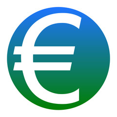 Euro sign. Vector. White icon in bluish circle on white background. Isolated.