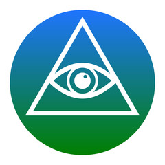 All seeing eye pyramid symbol. Freemason and spiritual. Vector. White icon in bluish circle on white background. Isolated.
