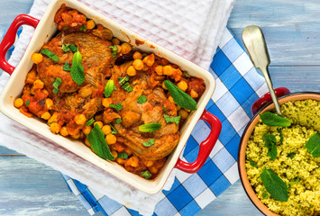 Harissa lamb chops with chickpeas and minted couscous