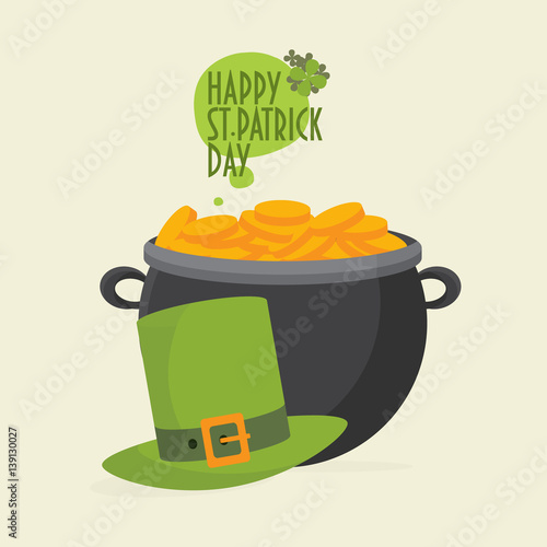 saint patrick s day greeting card template leprechaun hat and a pot