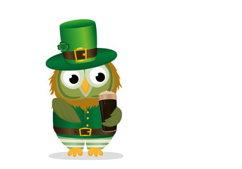 Owl with a glass of dark beer in national costume at Patrick's Day holding hands.