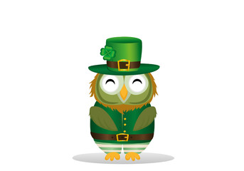 Owl with a beard  in traditional green suit on the day of Patrick. Greeting card