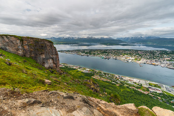 Tromso, the largest city in northern Norway, view from Storsteinen viewpoint.