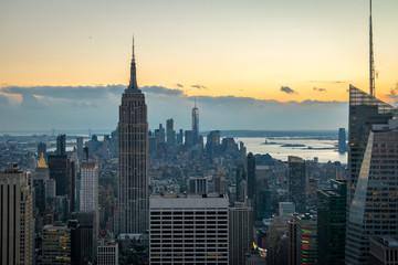 Aerial view of Manhattan Skyline at sunset - New York, USA