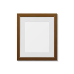 Wooden photo frame template, isolated on white