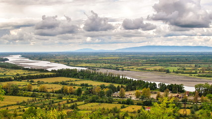 Panorama floodplain river Rioni