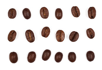 set coffee beans isolated on white background and texture, top view
