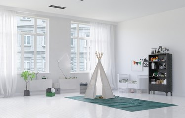 Small toy tepee in a kids playroom