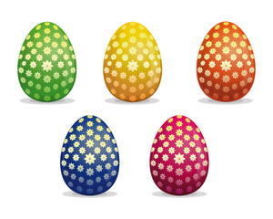 Set colorful Easter eggs vector icon isolated on white background. Flower pattern on Easter eggs. Easter eggs for Easter holidays design