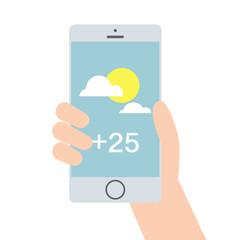 Weather mobile application, flat vector illustration