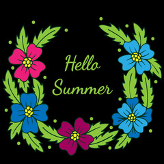 Colorful wreath with flower and Hello Summer text